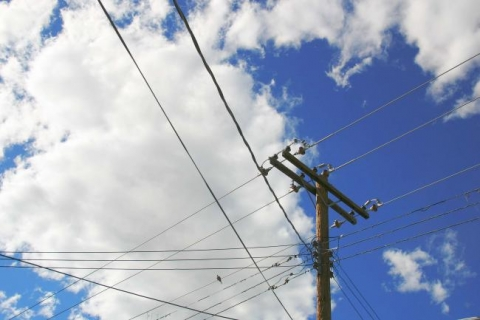 Electric lines and blue sky